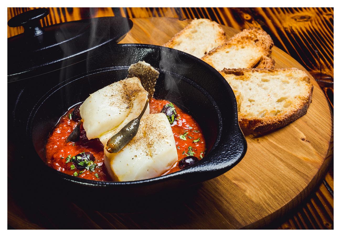 fotografia food baccalà gadus morhua al coccio